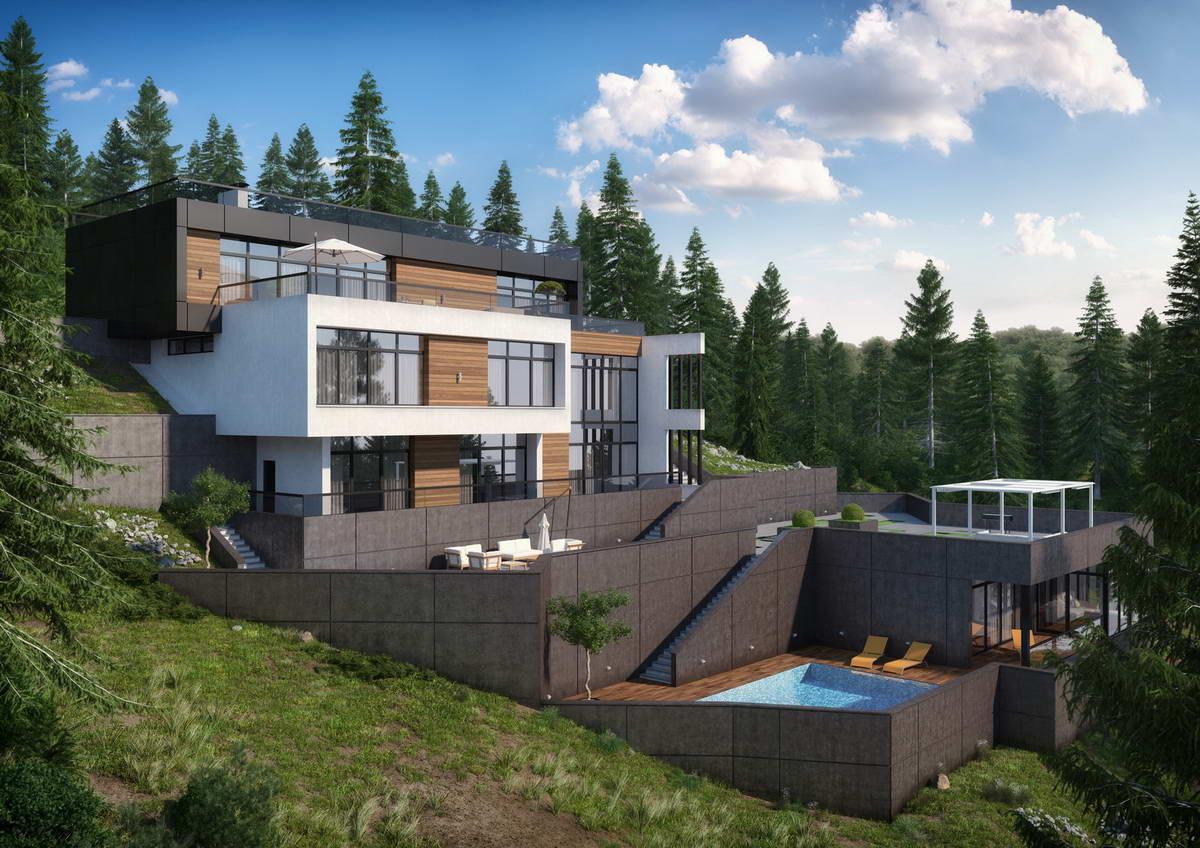 0 вариантов дизайна фасада частного дома - Загородные